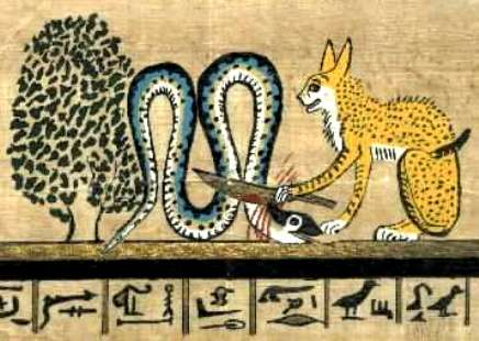 Cat Goddess killing the evil snake god Apep