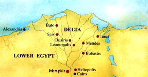 Map of Lower Egypt - Leontopolis and Bubastis